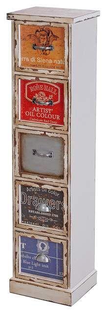 cassetti 5 ARTS - bianco con stampa 23,5 x 19,5 x 95,5