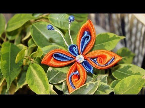 Бабочка Канзаши Мастер Класс / DIY Kanzashi butterfly - YouTube