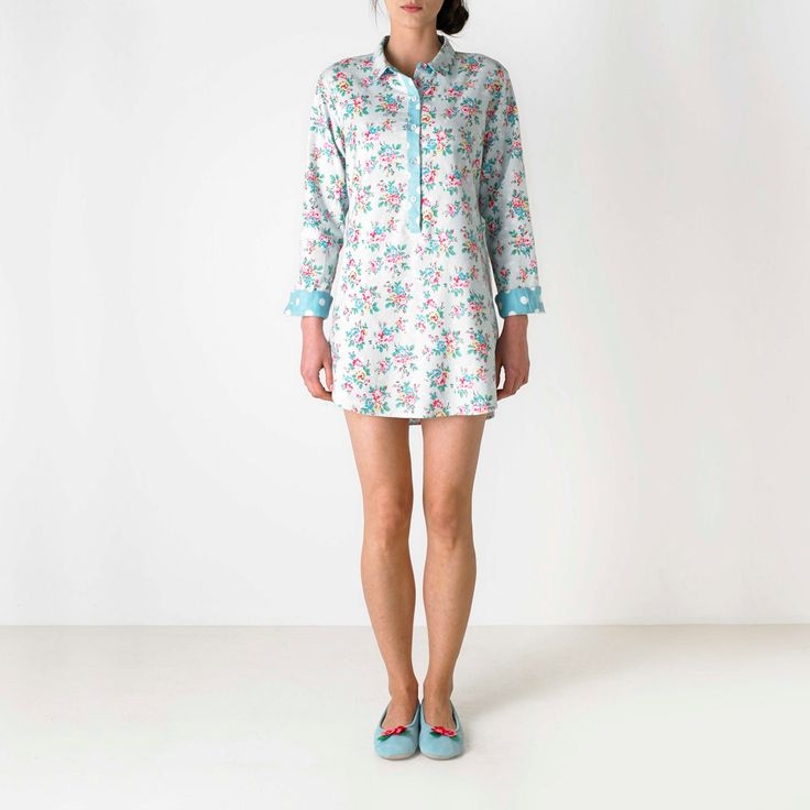 Nightwear & Slippers | Kingswood Rose Boyfriend Night Shirt | CathKidston