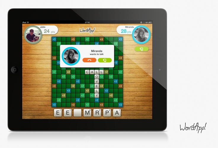 Concept design for a word game on iPad. Used for a conceptual showcase slide show for Rebtel Developers. Used in the Rebtel developers portal showcase slide show. developer.rebtel.com