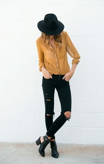 Mustard yellow shirt Black skinny ripped jeans - All about style, fashion and beauty