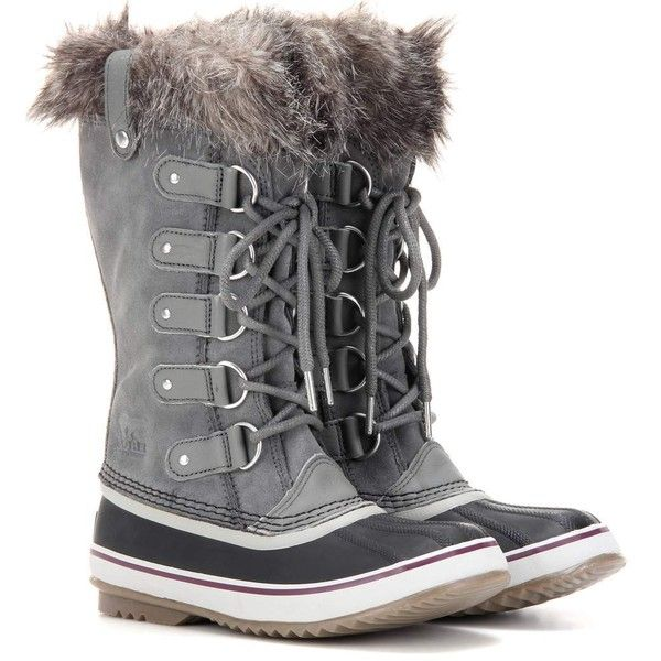 Sorel Joan of Arctic™ Shearling-Trimmed Suede and Rubber Boots ($205) ❤ liked on Polyvore featuring shoes, boots, grey, suede shoes, grey shoes, rain boots, wellington boots and rubber boots