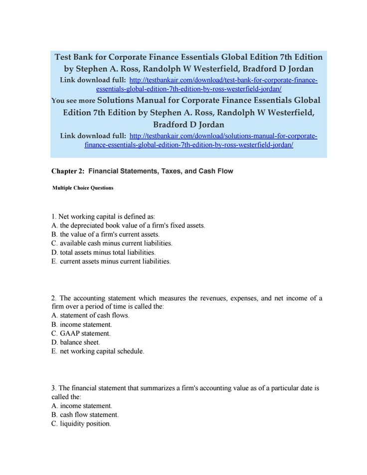 50 best test bank issuu images on pinterest download test bank for corporate finance essentials global edition 7th edition by ross westerfield j fandeluxe Choice Image