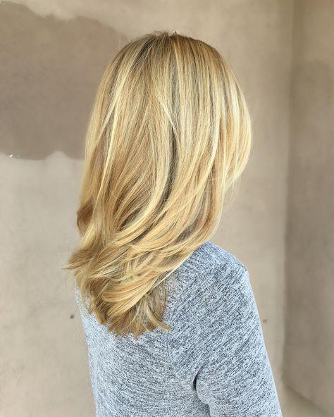 Medium-Length Beige-Blonde Straight Hair with Layers