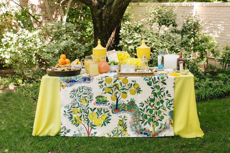 Kimberly Schlegel Whitman Margarita Bar Schumacher Citrus Garden table cloth