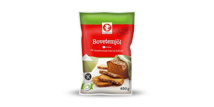 Bovetemjöl  (Buckwheat) - Glutenfria mjölprodukter -Kungsörnen Bovetemjöl är gjort på fröet från bovete, som inte är ett sädesslag utan tillhör örtsläktet. Mjölet är naturligt glutenfritt och är perfekt för att använda för bakning av glutenfria bröd, men går även bra att använda till bullar, matpajer med mera. Franska galetter och ryska blinier är två klassiker som görs på bovete.