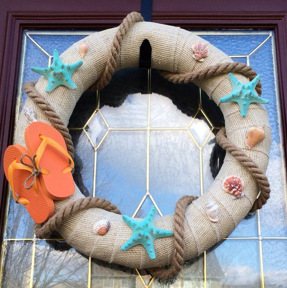 Beach Themed, Flip Flop, Burlap Wreath by TheCraftyChicShoppe, $45.00
