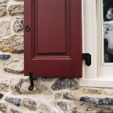 shutter style for outside shutters - cranberry color will highlight hardware really nice