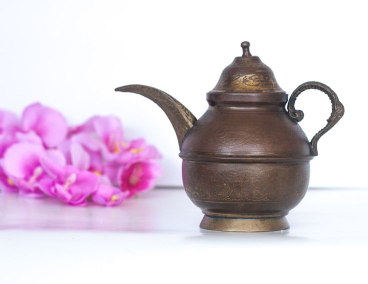 Moroccan Teapot: Vintage Decorative Teapot with Engraved Mediterranean Decorations, Metal Islamic Teapot, Middle Eastern Home Decor by CozyTraditions on Etsy