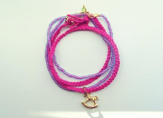 Hot Pink Carousel Bracelet  Wrap Bracelet Gold Plated by SKRIN, $30.00
