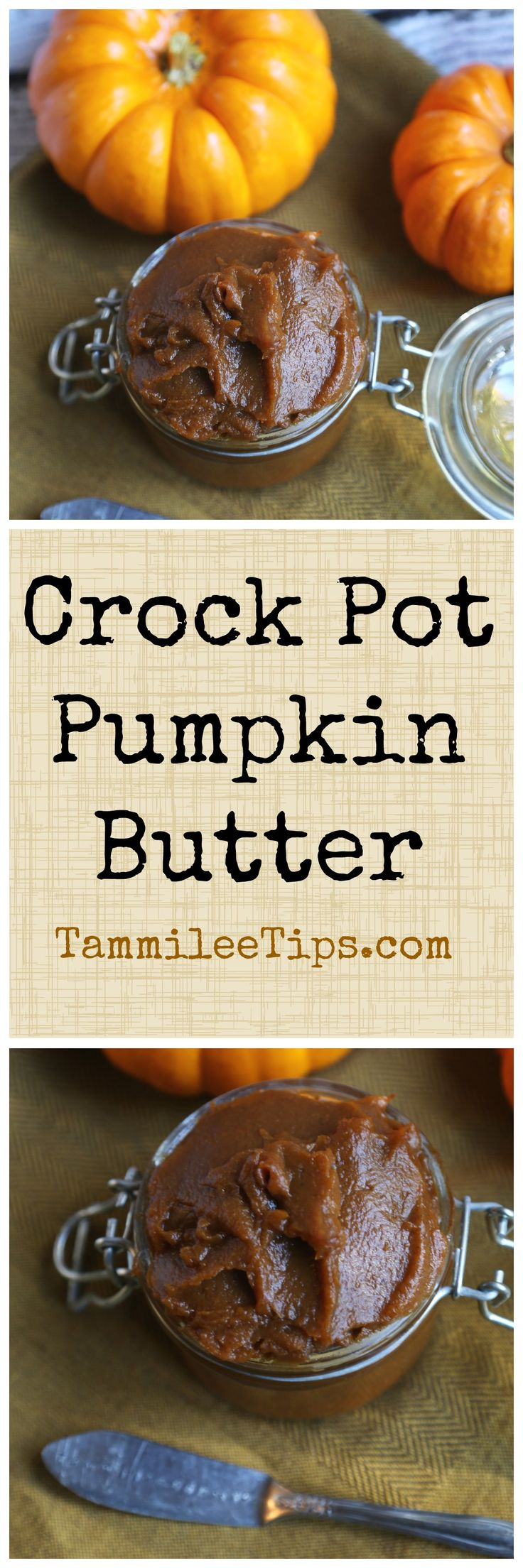 Easy Crock Pot Pumpkin Butter Recipe! Perfect for canning, on bread, for dessert or a sweet treat. The slow cooker does all the work! Also a great DIY Gift for Fall, Harvest Parties or Halloween parties.