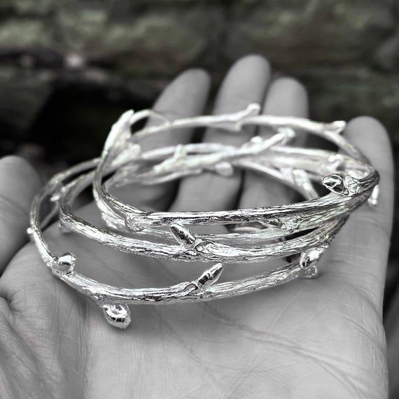 Silver elm branch ring
