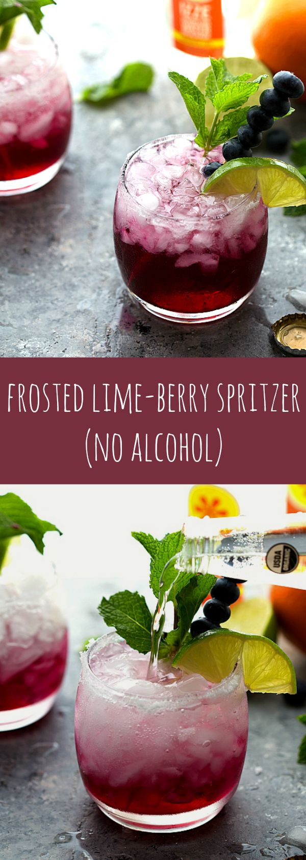 A delicious sparkling water - frosted lime berry with no alcohol. Perfect for kid's parties or a baby shower! Add vodka? Must try
