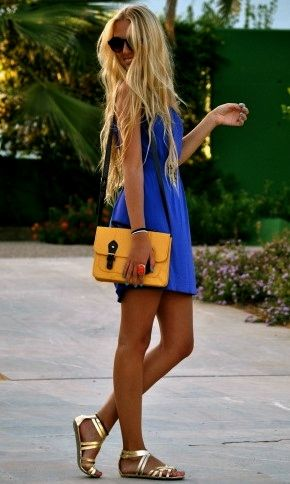 Perfect accessories for this summer's IN dress.: Summer Outfit, Summer Looks, Color Combos, Cobalt Blue, Long Hair, Royals Blue, The Dresses, Gold Sandals, Gold Shoes