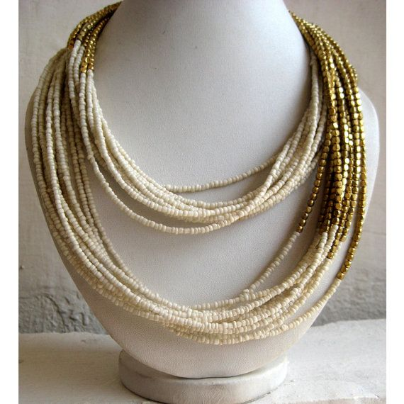 Statement Necklace/Off White Necklace/Multi Strand Necklace/Chunky Necklace/Beaded Necklace/Bib Necklace/Beaded Jewelry on Etsy, $31.98 CAD