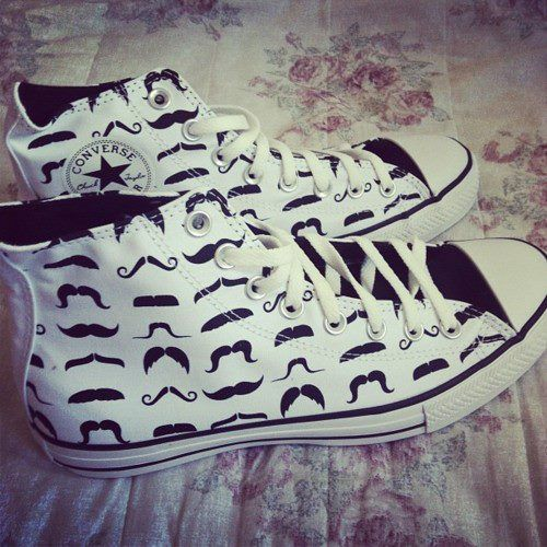 I love these mustache converses!! #cute #want #MUSTACHE