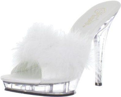 "Pleaser Women's Lip 101 8/W/C Sandal Pleaser. $43.95. HEEL and PLATFORM:5"" Heel. Platform measures approximately 0.75"" . Fabric. Rubber sole. Style Name:LIP-101-8. Heel measures approximately 4.75"". Size Range:5-16. Color Description:Wht Satin-Fur/Clr"