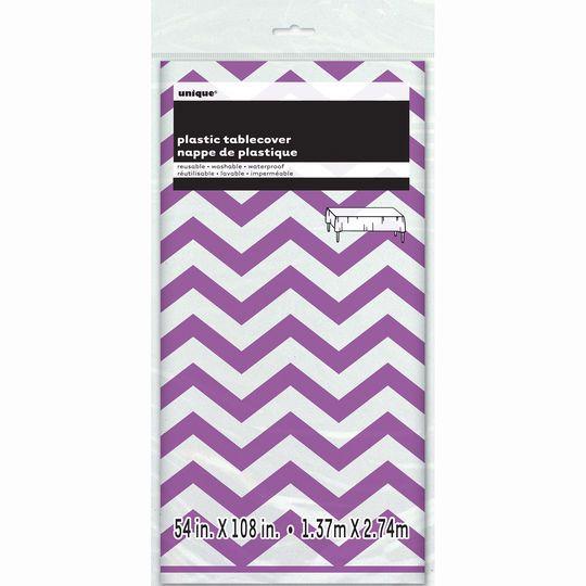 "Plastic Purple Chevron Tablecloth, 108"" x 54"""