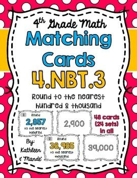 45 best math images on pinterest common core math common cores 4nbt3 matching cards rounding to the nearest hundred and thousand fandeluxe Image collections