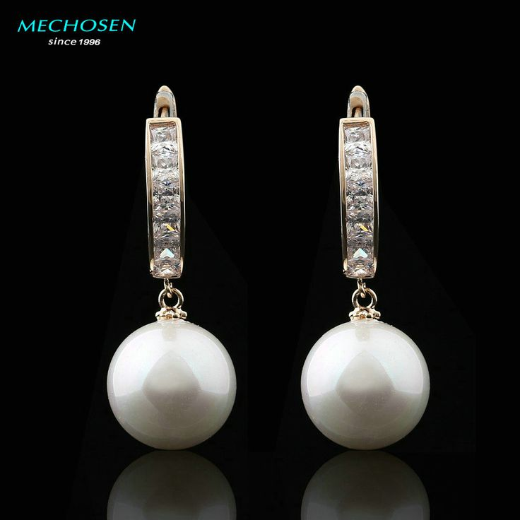 MECHOSEN Elegant Pearl Earrings For Women Zircon Copper perlas Aretes piercing brincos boucle d'oreill Wedding Jewelry oorbellen