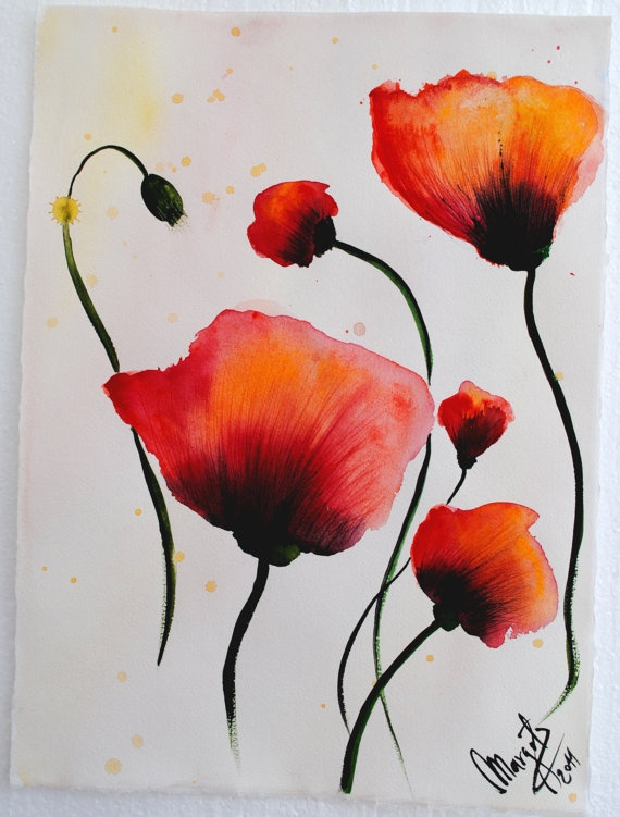 Watercolor Poppy Ecosia