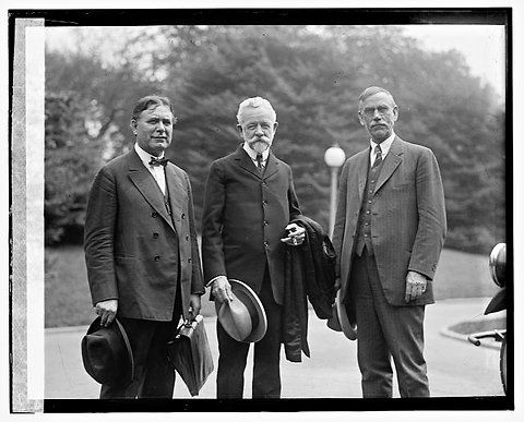 Senator William Borah of Idaho, left, and Senator Henry Cabot Lodge of Massachusetts, center, formed the primary opposition to the Treaty of Versailles supported by President Woodrow Wilson. Description from learning.blogs.nytimes.com. I searched for this on bing.com/images