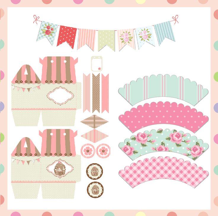 FREE Printable cupcake wrapper, baby shower favor box, bunting, cupcake topper, flag picks