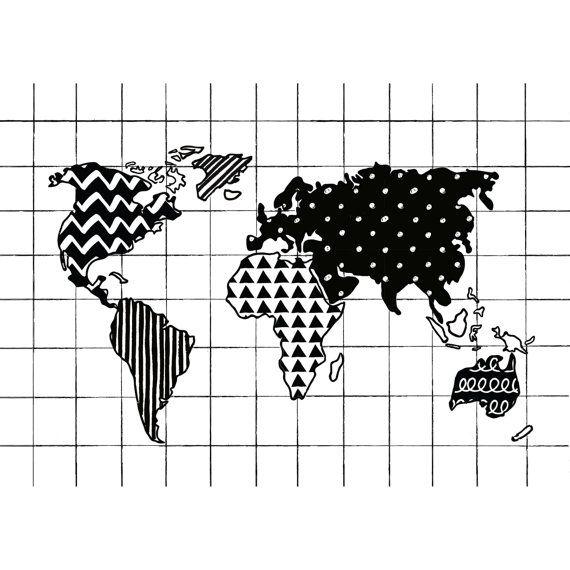 Schwarz / weiß Welt Karte Drucken Weltkarte Monochrome
