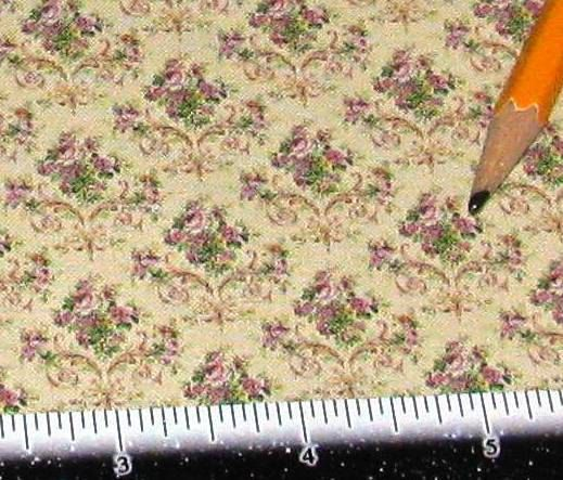 Dollhouse Miniature Victorian UPHOLSTERY FABRIC Violet Rose Bouquet on Beige 1/12th SILK