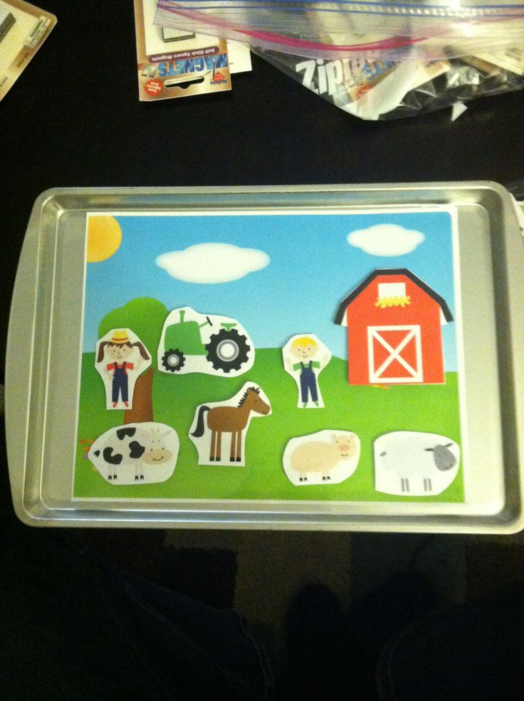 Theme : Farm - Magnetic Tray activity . Could also have a felt board for dramatic play