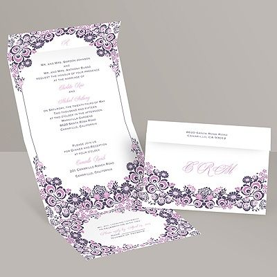 floral themed wedding invitations | monogram, pattern & swirls | flower seal and send wedding invitation | available in multiple colors