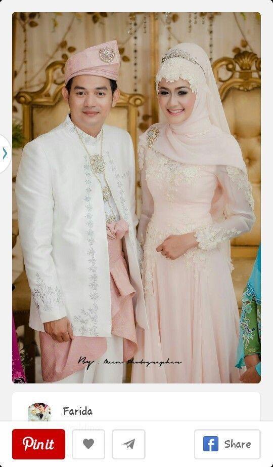 Bride in Muslimah dress  groom outfit is nice too