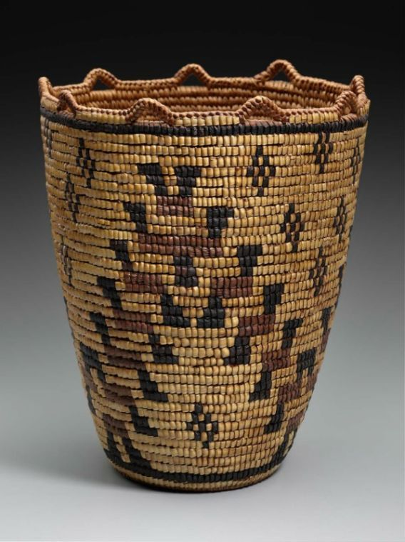 Carrying basket (or coiled pack basket).  Native American (Lataxat [Klikitat]), about 1890 | Coiled cedar and spruce, completely imbricated with bear grass, wild cherry bark, and horsetail or dyed cedar bark