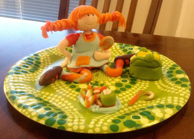 Pippi Longstocking with candies and a purse full of gold coins This cake topper goes to a cute little girl next door