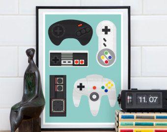 Videospiel-Poster, Geekery drucken, retro Poster, Gamecontroller, Mann Höhle Kunst Kinderzimmer Kunst, Spiel Raum Dekor A3, 11 x 14