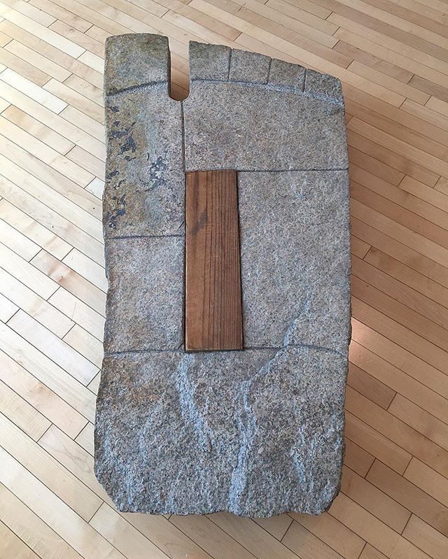 Isamu Noguchi, 'The Footstep,' 1958. Mannari granite, pine. Inspired by Buddhapada (footprint of the Buddha) stones seen in India, this floor sculpture was at one time used as a stepping stone at the base of stairs in Noguchi's Long Island City studio and home. #仏足石