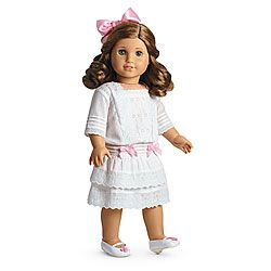American Girl Rebecca's Lace Dress: Lace Dress, pink hair bow, faux white patent Mary Jane shoes - WISH LIST
