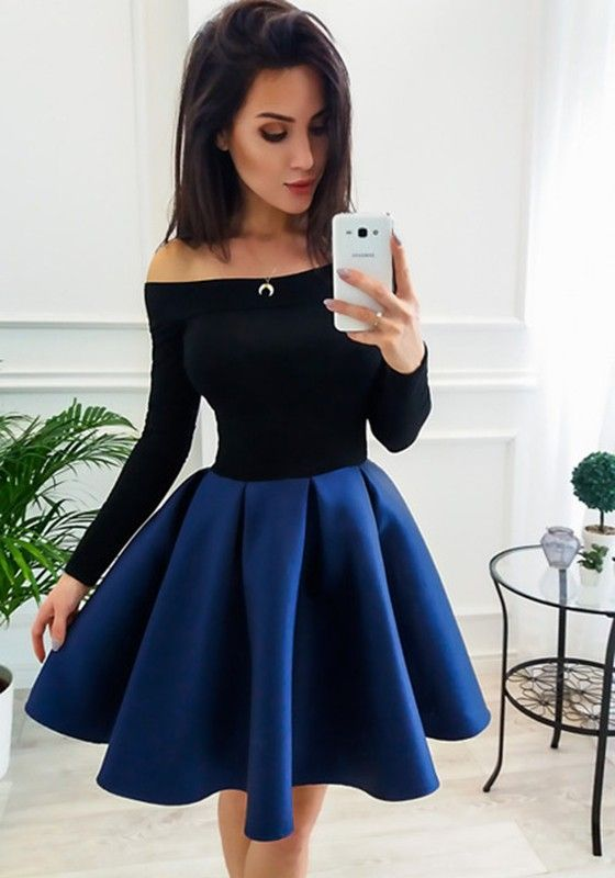 A-line Off Shoulder Long Sleeves Above Knee Royal Blue Ball Gown