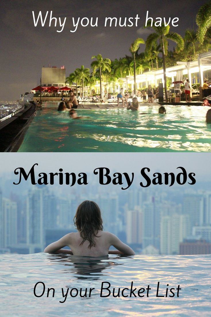 Marina Bay Sands Hotel in Singapore has an awesome infinity rooftop pool overlooking the city. Staying at the hotel is quite expensive and it is the only way to have a swim in the roof top pool.