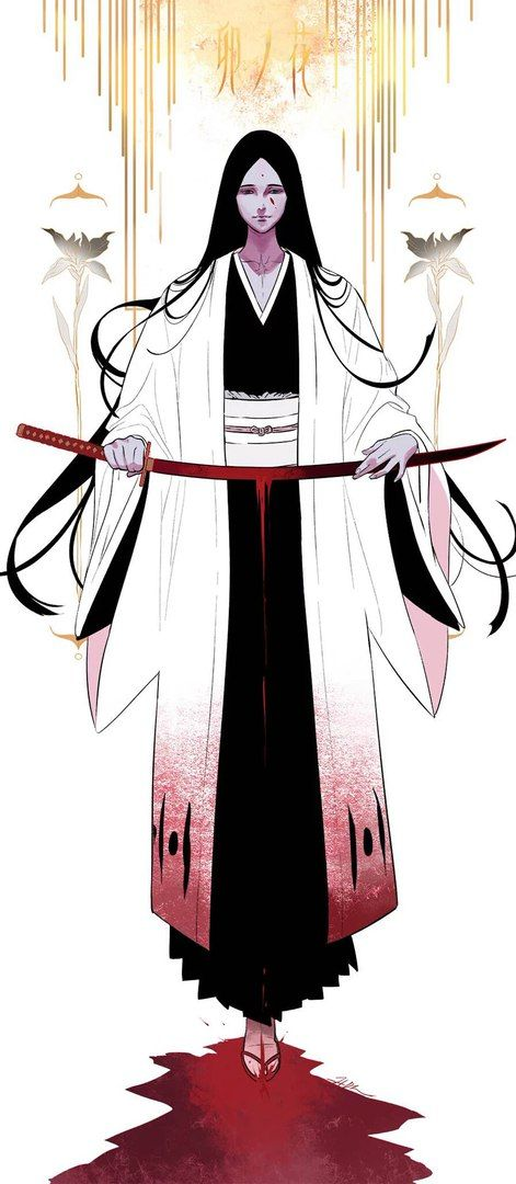Bleach// Unohana Retsu # samurai female woman or male character kimono illustration fading scary ghost phantom japanese long hair red white color texture