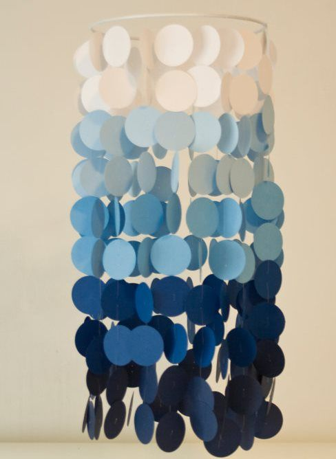Ombre Party Chandelier. Would be easy and inexpensive to make in any color. I've already got the circle punch we'd need!