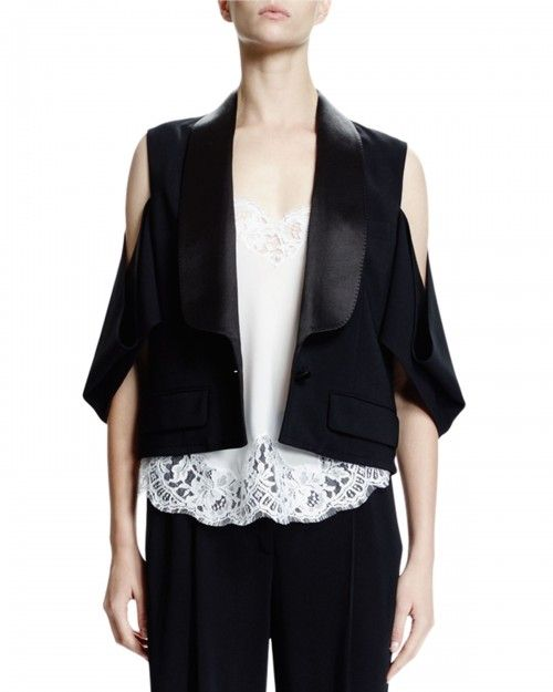 Givenchy+Cold+Shoulder+One+Button+Jacket+Black+Women's+34+|+Coat,+Jacket+and+Clothing