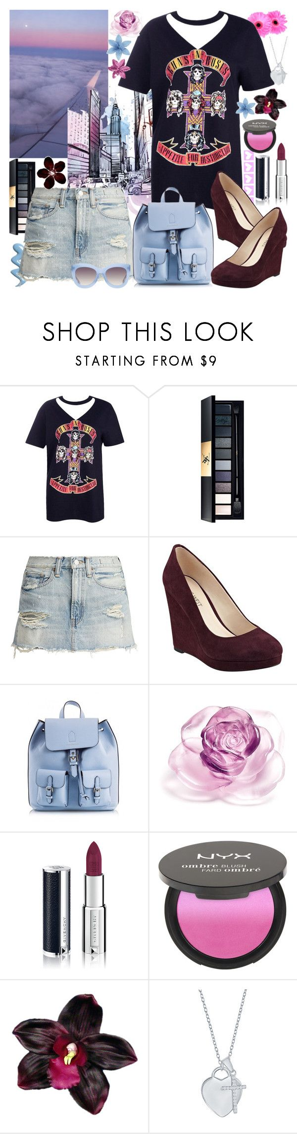 """""""Rock N Roll Chic"""" by luvmrb61899 ❤ liked on Polyvore featuring Boohoo, Yves Saint Laurent, Nine West, Coccinelle, Daum, Givenchy, NYX, Divine Silver and Alice + Olivia"""