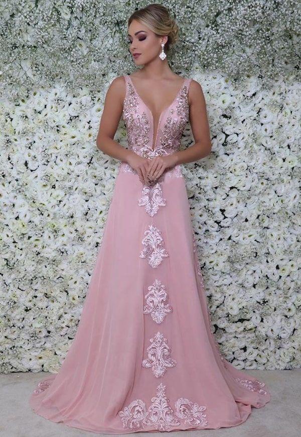 vestido longo rosa claro | Evening dresses, Gold prom dresses, A line prom dresses