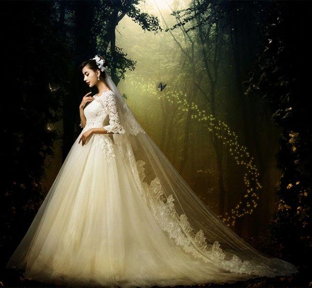 「高品質☆レース復古調 ウェディングドレス  トレーン 5分丈袖♪結婚式 オーダーサイズ可 パニエ・ベール・グローブ付 H060」の商品情報やレビューなど。