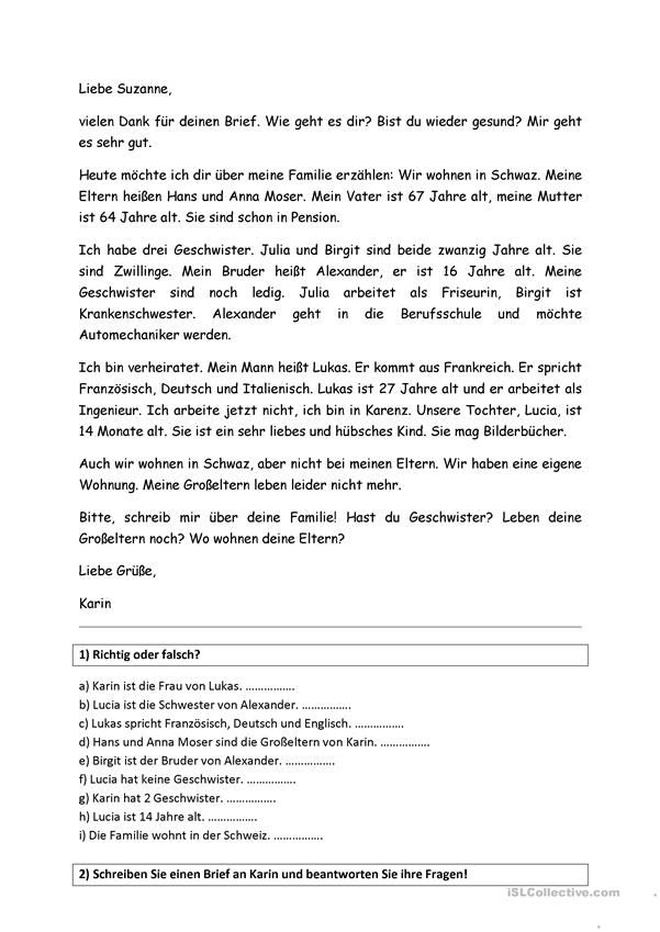 Brief Thema Familie German Deutsch Lernen Deutsch Und