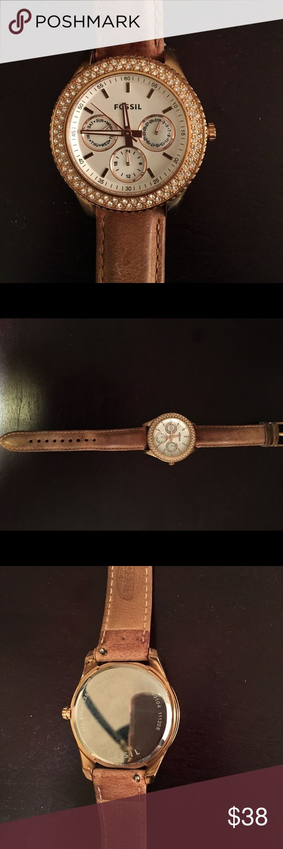 Fossil Leather Watch Fossil genuine tan leather with stainless steel face. Rose gold details and crystals surrounding the face. NEEDS NEW BATTERY Fossil Accessories Watches