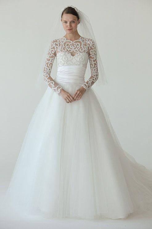 Marchesa wedding dress with sleeves, Fall 2012
