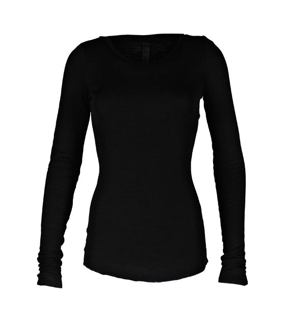 Basic Betty - Black Wool Longsleeve Tee - 100 % Wool