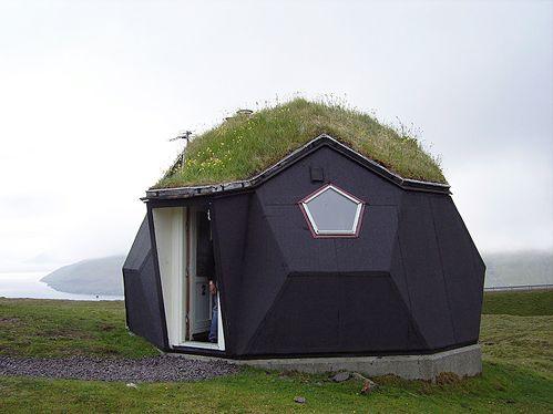 polygonal wood igloo with green roof